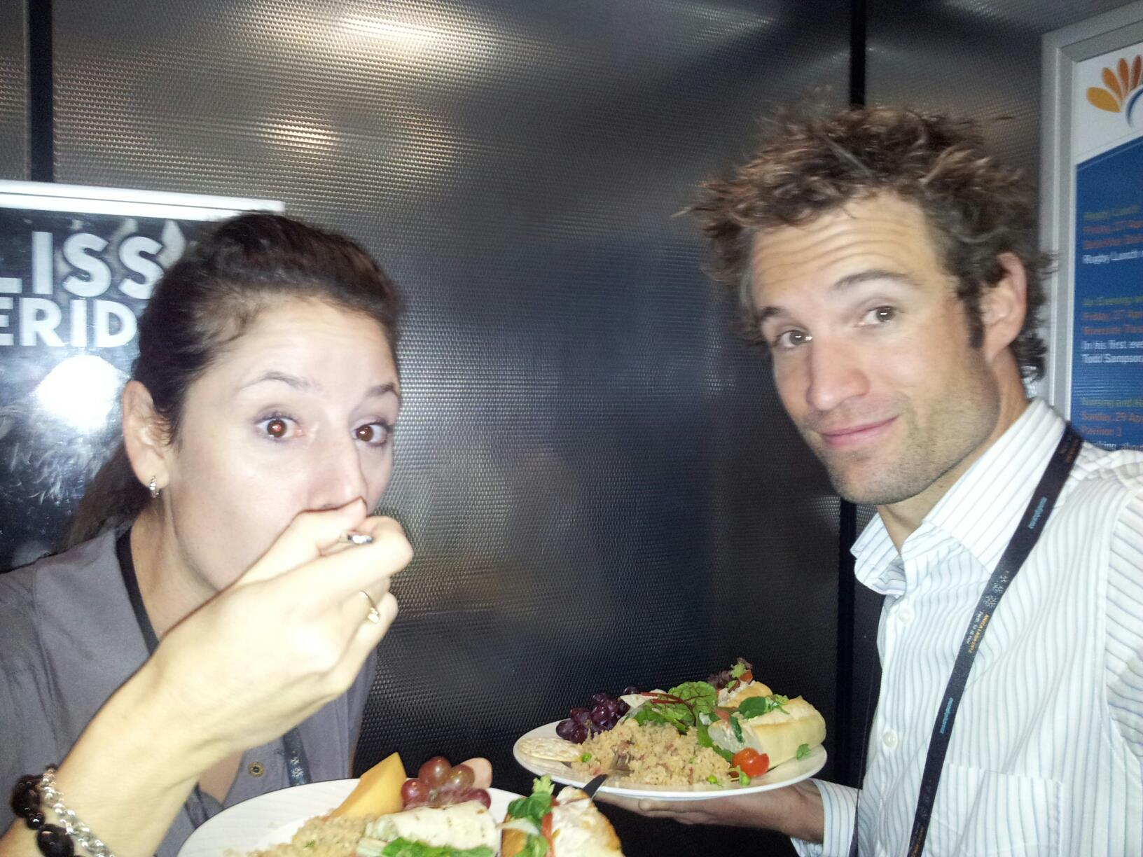 Grabbing a quick lunch in an elevator!