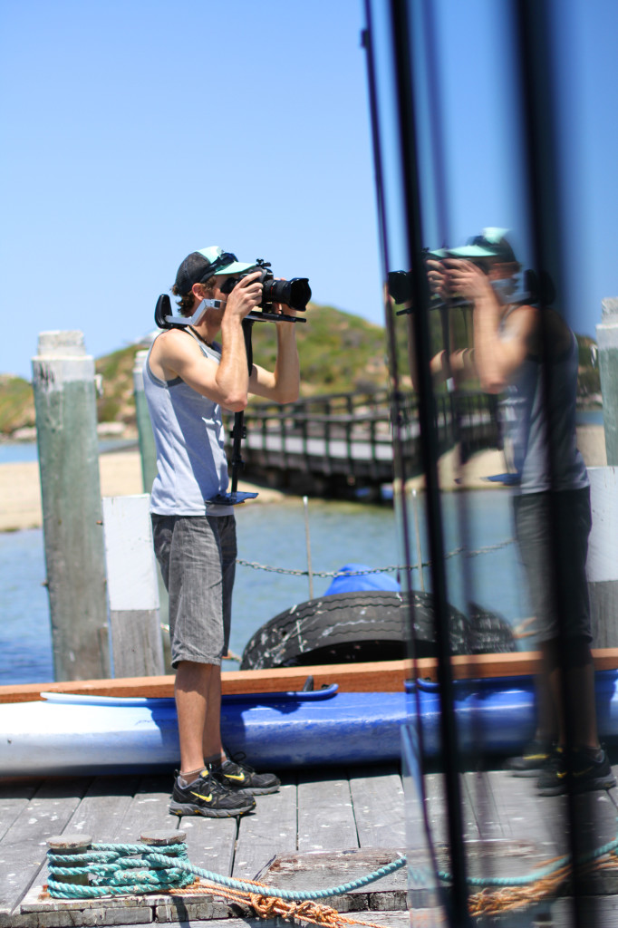 Craig filming the tourists arriving by ferry at Penguin Island, Western Austalia